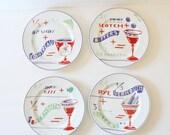 CIJ 40% off sale // Vintage Drink Recipe Rosanna Salad Plates - Set of 4 - Rob Roy, Side Car, Manhattan, Martini