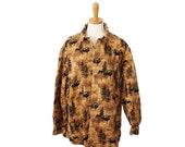 BLOWOUT 40% off sale VIntage 90s Beige Woolrich Forest Scene Flannel Shirt - Men L - Beige Buck Deer Pattern - Autumn