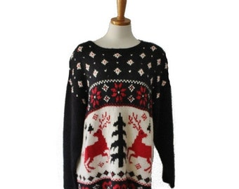 CIJ 40% off sale // Vintage 80s Nordic Reindeer Sweater - Busy Design - Women 2XL - ugly Christmas, black red