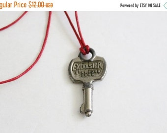CIJ 40% off sale // Vintage Tiny Excelsior 700 Mid Century Key - Upcycled Necklace on Waxed Red Cord, Stamford CT, mini