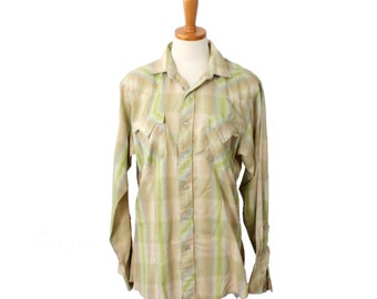 Vintage 70s Lime and Beige Western Pearl Snap Button Shirt // Men Small, retro cowboy