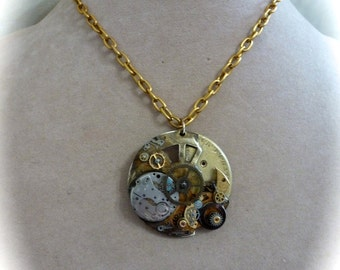 Steampunk Pendant Necklace With Gears and Mechanisms