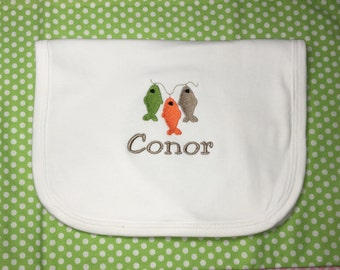 Personalized Bib with String of Fish