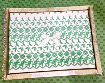 Vintage Embroidered Pillowcase Set in Original Box -