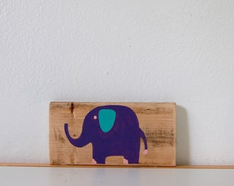 Baby Elephant Sign in Reclaimed Wood - Rustic Children's Room Artwork - Handpainted Original Nursery Art - Purple and Turquoise Elephant Art