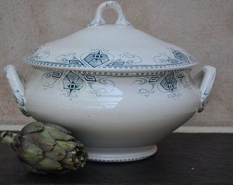 Antique French Ironstone Tureen - 'Germaine' U & C Sarreguemines - Blue and White Transferware