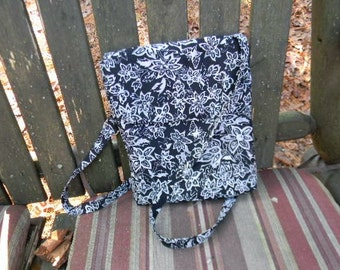 Black and White Floral Batik Cross Body Bag with Adjustable Strap