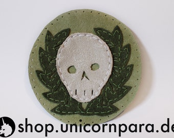 Green and White Appliquéd Suede & Leather Skull and Laurel Wreath Patch