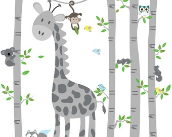 Birch tree decal Giraffe decal