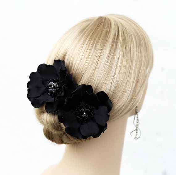 Black Flower Hair Accessory J7213: Black Flower Hair Clips Side Flowers Flower Hair By