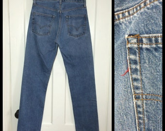 Vintage faded Levi's 505 31X34 tall great patina Straight Leg Blue Jeans 1970's made in USA 31 inch Waist black stitch Talon zipper #1253