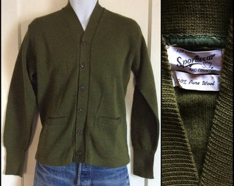 Deadstock 1940's Sportswear for Town and Country Spa Coat thin knit workwear Cardigan Chore Sweater size 42 looks M Army Green NOS