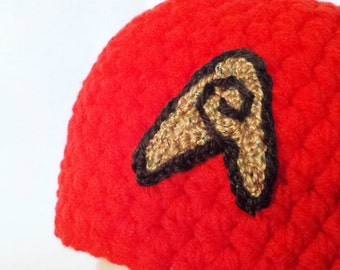 Star Trek Red Shirt Hat Novelty Character Hat Sci Fi Cosplay Hat Handmade Crochet In Stock Ready to Ship