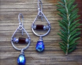 Mystic Lapis, Garnet, and Mystic Labradorite Gemstone Earrings in Oxidized Sterling Silver