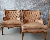 Vintage Arm  Chairs pair French Bergere Louis tufted  ornate price includes upholstery paint service