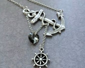 Lost Heart at Sea Necklace, Silver Plated Anchor, Anchor with Heart, Sideways Anchor Necklace, Anchor with Heart, Anchor Gift, Lost at Sea