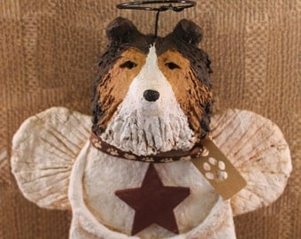 Sheltie Angel, OOAK, hand-sculpted from  papier mache, Sheltie Dog Angel