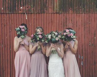 Southern Blush Satin Long Octopus Convertible Wrap Gown- Mismatched Bridesmaids, Wedding, Maternity, Plus Size