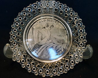 """Clear Pressed Glass Sweetheart Plate """"Old Glory"""" Betsy Ross"""