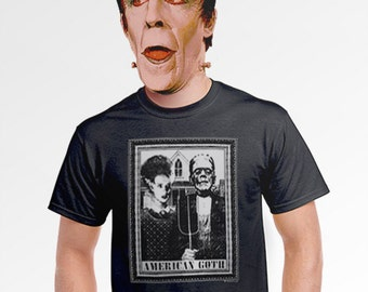 American Goth black frankenstein shirt movie poster t-shirt funny cinema art horror show the bride of for art buff student men guys s-4xl