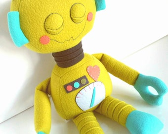 Robot - Kids Toy - Toys - Baby & Toddler - Doll - Stuffed Toy - Citron - Teal - Coral - Charcoal Grey - Ready Made - Plushie