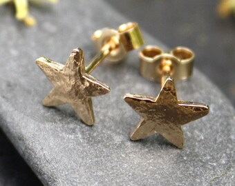 Small gold star stud earrings 9ct gold