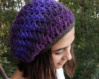 Elegant Crochet Beanie, Womens Knit Beret, Crochet Beret Hat, Womens Boho Beret, Purple, Lavender, Green Knit Beret, PEACOCK GRACE