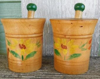 Vintage Wood Salt and Pepper Shakers