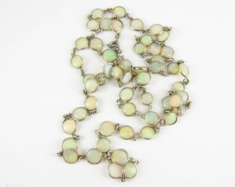 Antique Opal Necklace, Bezel Set Open Back Opals in Sterling Silver. Edwardian, Circa 1910s, Matinee Length, 64 cm / 25.2 inches.