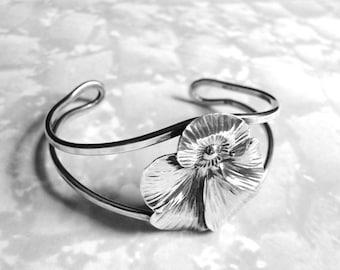 Vintage Sterling Silver Bracelet, Sterling Silver Bangle, Jewelry, Vintage Art Deco Flower Bracelet, Accessories, Valentines Day Gift