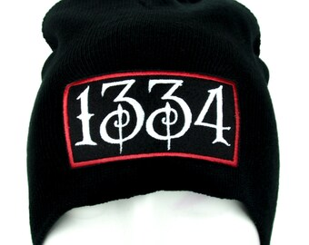 1334 Black Plague Knit Black Beanie Alternative Hat - EMPA-01-BEANIE