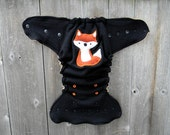 Upcycled Wool Nappy Cover Diaper Wrap Cloth Diaper Cover One Size Fits Most Black With Fox Applique/ Black & Beige