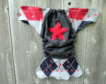 Upcycled Wool Nappy Cover Diaper Wrap Cloth Diaper Cover One Size Fits Most Gray Red Navy Argyle With Star Applique/ Black