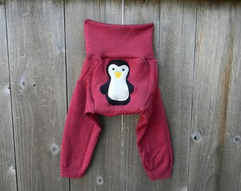 SMALL Upcycled Merino Wool Longies Soaker Cover Diaper Cover With Added Doubler Raspberry Pink With Penquin  Applique SMALL 3-6M