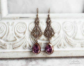 Victorian Reverie Fleur de Lis Aged Brass French Baroque Earrings with Swarovski crystals