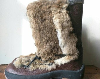 Rare sold out Women's ULU Akna rabbit fur / leather / waterproof boots / chukka boots / winter boots / Eskimo boots