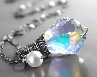 Swarovski Clear Crystal Necklace Sterling Silver Wire Wrapped Crystal Pendant Necklace Clear Crystal Drop Aurora Borealis Necklace