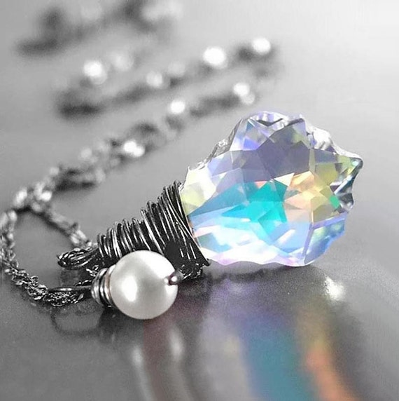 Swarovski Clear Crystal Necklace Sterling Silver Wire Wrapped Crystal Pendant Necklace Clear Crystal Drop Aurora Borealis Necklace