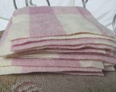 "17 Lavender Vintage Wool Patchwork Squares, 6"" x 6"" 100% Wool Fabric Pieces, Recycled Plaid Blanket"