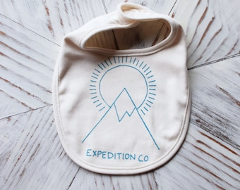 Organic Baby Bib - Screen Printed Baby Clothes - Expedition Co - American Apparel Bib - Infant Bib - Organic Baby Clothes - Cotton Bib