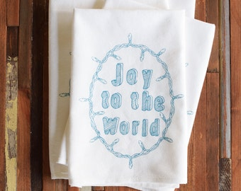 Dinner Napkins - Cloth Napkins - Eco Friendly Napkins - Screen Printed Napkins - Cloth Napkin Set - Holiday Napkins - Joy to the World