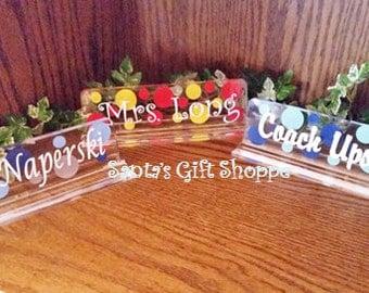 Teacher's Appreciation Day - Name Desk Plate - teachers name plate - desk name plate - acrylic name desk plate - Christmas gift