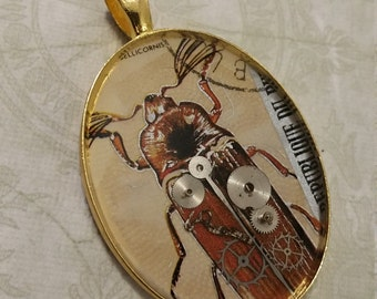 Beetle Stamp Clockwork Pendant