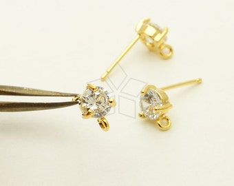 SI-747-GD / 2 Pcs - Solitaire CZ Stud Earrings, Tiny Crystal Round Cz Studs, Gold Plated, with .925 Sterling Silver Post / 5mm