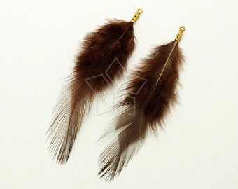 FT-039-BR / 2 pcs - Rooster Hackles Feather Pendant, Handmade Brown Feather Charm, Natural Bohemian Plume Pendant / 70mm