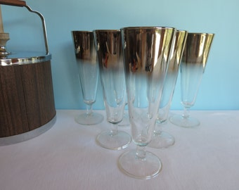 Vintage Silver Ombre Pilsner Glasses - Set of 7 Tall Glasses - Queen's Lusterware - 1960s Barware