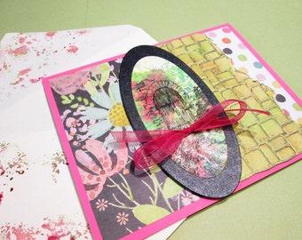 Handmade Card - TUSCAN GARDEN DOOR - Embossed stone wall, metallic alloy watercolors handmade card