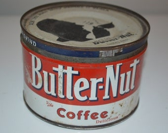 Vintage coffee can - Butter-Nut tin advertising kitchen - general store
