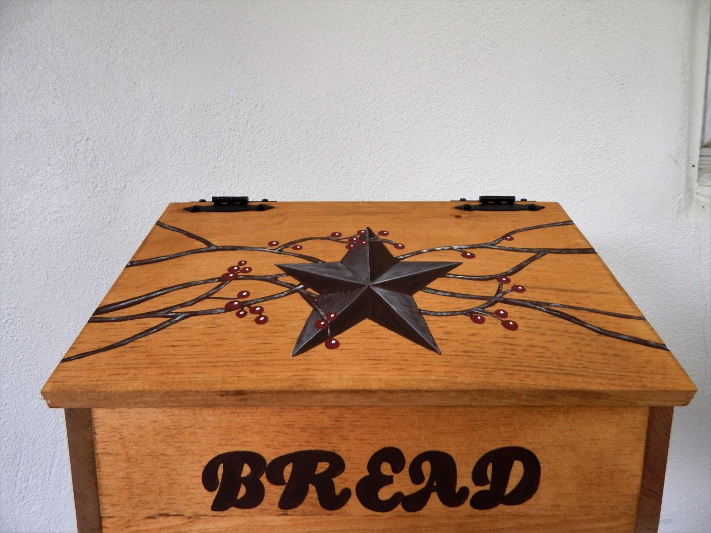 Rustic Star Kitchen Decor Bread Box Primitive Bread Box Rustic Primitive Kitchen