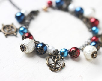 Nautical Charm Bracelet Antique Brass Bracelet - Navy Blue, Red and White - Sailing